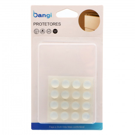 Set 16 butoni din silicon pentru amortizare / protectie sertare si usi, rotund