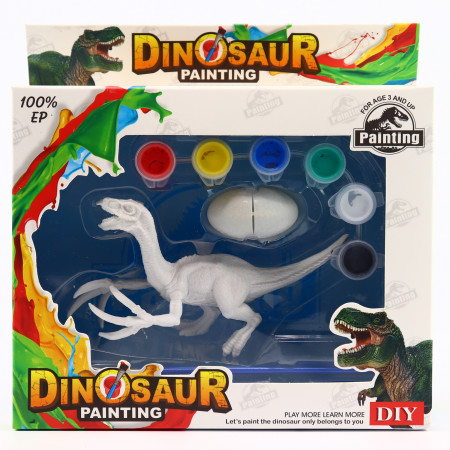 Set de Pictat Figurina in miniatura Dinozaur - Velociraptor, tempera, culori acrilice