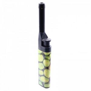 Aprinzator pentru aragaz, cu buton reglare flacara, reincarcabil, tip bricheta, imprimeu mere verzi, 14.5 cm