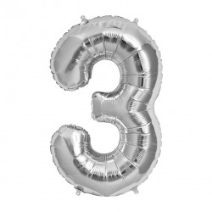 Balon din folie metalizata, 80 cm, cifra 3, Argintiu