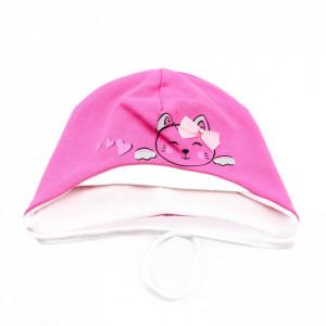 Caciula pentru fetite, cu imprimeu pisicuta, marime 40, +12 luni, Roz inchis