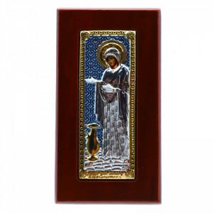 Icoana Maica Domnului, Sporul Casei, argintata 925, lemn, 5x9 cm, Bleu