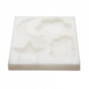 Matrisa / sablon pentru cofetarie, din silicon, forma norisori, stea, luna si norisori, 11x10 cm, Alb