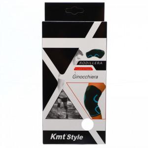 Orteza elastica pentru genunchi, prevazuta cu banda superioara cu arici, ofera confort si siguranta, marime L, Negru