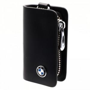 Portofel pentru cheie auto, sigla BMW, tip breloc, piele, cu fermoar, 10 x 6 x 2.5 cm, Negru
