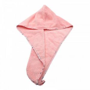 Prosop pentru uscat parul, cu un nasture pentru fixare, pentru adulti, model floral, 65 x 26 cm, Roz