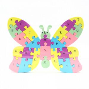 Puzzle din lemn cu litere si cifre, Fluture, 26 piese