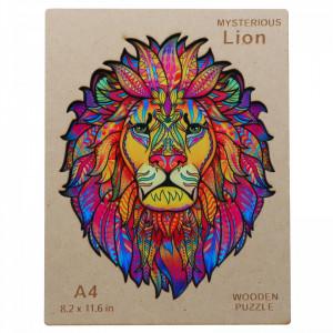 Puzzle leu din lemn, Multicolor, 21 x 30 cm, 148 piese