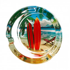 Scrumiera din sticla, model placa de surf , 8.5 x 3.5 cm, Multicolor