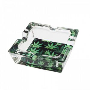 Scrumiera din sticla, patrat, model frunza de canabis, 7.8 x 2.6 cm, Verde cu negru