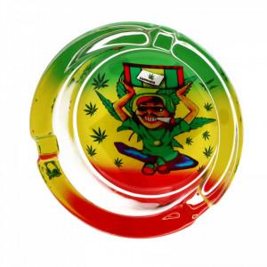 Scumiera din sticla, model frunze de canabis, 8.5 x 3.5 cm, Multicolor