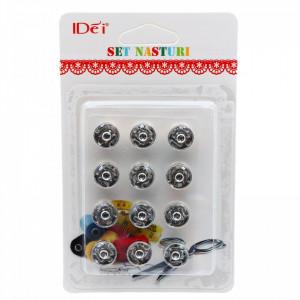 Set 12 buc, nasturi metalici, tip capse, 10 mm
