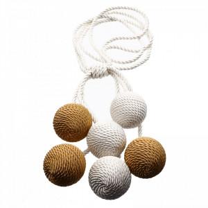 Set 2 buc, Accesorii strangere perdea si draperie, model snur cu 6 bile, 89 cm, Alb perlat cu auriu