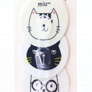Set 3 cuiere pentru baie cu imprimeu pisica, Miu