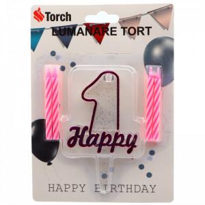 Set 4 buc, Lumanare aniversara,cu suport in forma de Cifra 1, pentru tort, Roz