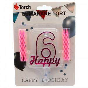 Set 4 buc, Lumanare aniversara,cu suport in forma de Cifra 6, pentru tort, Roz