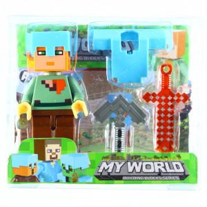 Set 4 piese, Figurina si accesorii, Tip Minecraft, Multicolor