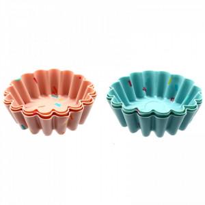 Set 6 bucati, forme de copt din silicon pentru briose sau savarine, 8 x 2.5 cm, Multicolor
