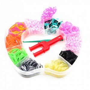 Set creativ cu accesorii pentru realizarea bratarilor din elastic, 500 piese, Multicolor