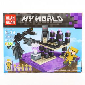 Set de constructie Lego, Minecraft si dragonul furios, 109 Piese