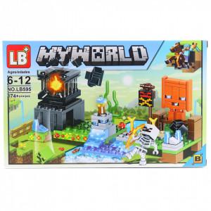 Set de constructie Lego, Scheletul alb si marea explozie tip Minecraft, 174 Piese