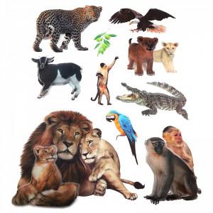 Set Sticker 8D pentru copii, Animale, decor camera, ST-HK802, Multicolor