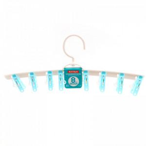 Uscator de rufe cu 8 carlige, tip umeras, 37.5 cm, Bleu