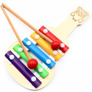 Xilofon din lemn, forma chitara, multicolor, 21 cm