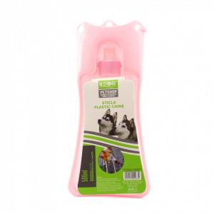 Adapatoare animale portabila, bol plastic, sistem antivarsare, Roz, 500ml