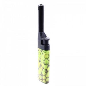 Aprinzator pentru aragaz, cu buton reglare flacara, reincarcabil, tip bricheta, imprimeu masline verzi, 14.5 cm