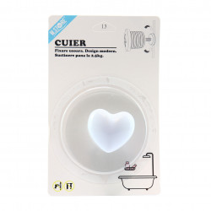 Cuier pentru baie in forma de inima, Alb