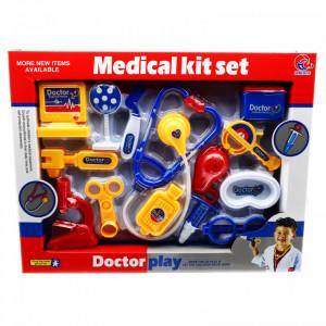 Jucarie de Rol, Trusa Medicala, Stetoscop, seringa, 14 piese, Albastru