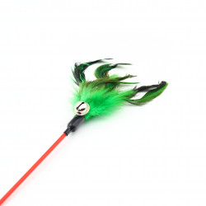 Jucarie pentru pisica cu pene si clopotel, Verde, 62 cm