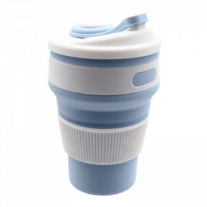 Pahar din silicon, pliabil, cu capac si protectie bauturi fierbinti, 350 ml, Bleu