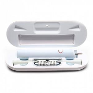 Periuta de dinti sonica, model S81/S8102, 5 moduri de functionare, waterproof, incarcare wireless, toc cu sterilizare UV, 8 capete incluse, Alb