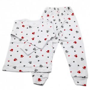 Pijamale copii, Model labute rosu si gri, Model Romanesc, Bumbac, 5 - 6 ani, P56P9