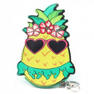Portofel tip breloc, forma ananas, Multicolor, 17 x 11 cm