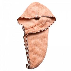 Prosop pentru uscat parul, cu un nasture pentru fixare, pentru adulti, 60 x 20 cm, Roz pudra