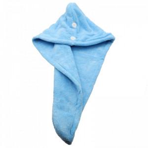 Prosop pentru uscat parul, dublu material, cu un nasture pentru fixare, pentru adulti, 65 x 26 cm, Albastru