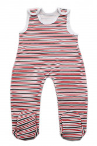 Salopeta bebe tip maieu, Imprimeu dungi rosii si gri, 0 - 3 luni, SM03SM5