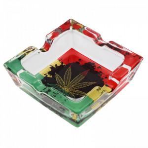 Scrumiera din sticla, patrat, model contur frunza de canabis pe negru, 7.8 x 2.6 cm, Multicolor