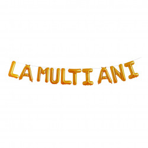 "Set 10 baloane folie, mesaj "" La Multi Ani "", Aurii, 40 cm"
