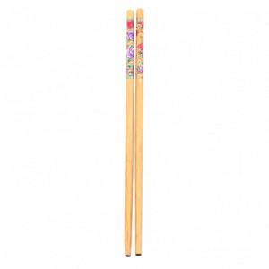 Set 10 bucati, Betisoare din bambus pentru servire / Sushi, cu imprimeu floral, 24 cm