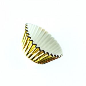 Set 100 bucati, forme de copt din hartie pentru briose, 8 cm, Auriu