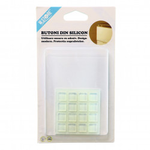 Set 16 butoni din silicon pentru amortizare sertare si usi, patrat
