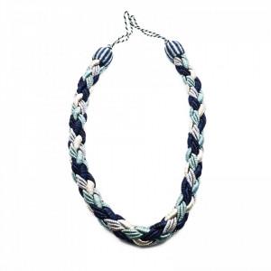 Set 2 buc, Accesorii strangere perdea si draperie, model cordon impletit, 105 x 2.5 cm, Bleumarin cu bleu