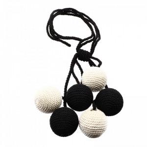 Set 2 buc, Accesorii strangere perdea si draperie, model snur cu 6 bile, 86 cm, Negru cu alb perlat