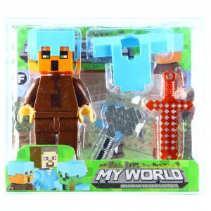 Set 4 piese, Figurina si accesorii, Tip Minecraft, Maro