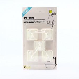 Set 5 cuiere de plastic cu fixare adeziva usoara, Alb