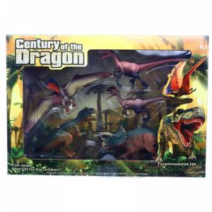 Set 6 figurine, Dinozauri, Pterosaurus, Deltadromeus Agilis, Triceratops, Raptor